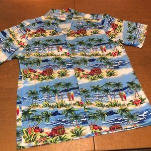 VTG Men's Hawaiian Button Down Surfing Shirt L